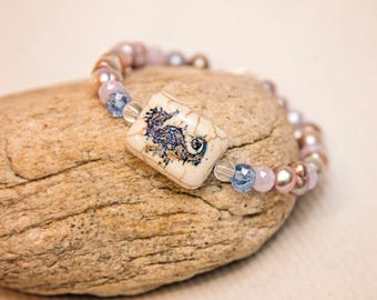 Purple pearl bracelet, seahorse bracelet, seahorse bead bracelet, freshwater pearl bracelet, beach jewelry, sea jewelry, purple pearls