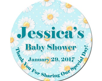 Custom Baby Boy Shower Labels Personalized Daisy's Flowers Round Glossy Designer Stickers