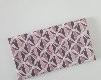 Checkbook / pink and gray geometric fabric check book