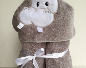 Grey Hippo bath towel embroidered ready to ship