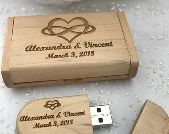 Engraved Maple Wood 32GB USB Thumb Drive with Engraved Wooden Box