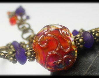 Reserved for Patty... Fire Dance...Handmade Jewelry Bracelet Beaded Lampwork Crystal Wirework Bangle Cuff Antique Brass Purple Pink Orange