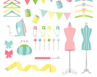Sewing Clipart, Dressmaker Clipart, Digital Sewing Clip Art, Thread Clipart, Printable, Commercial Use