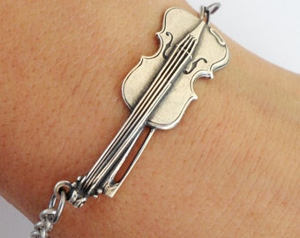 Steampunk Violin Bracelet in Sterling Silver Ox And Antiqued Brass Finishes