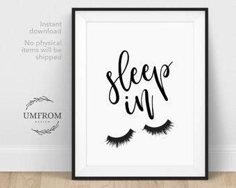Bedroom Wall Decor / Sleep In / Lets Sleep In / Eyelashes Print / Master  Bedroom