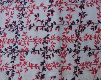 Vintage Red and Black Lattice and VinesFEED SACK FEEDSACK Fabric