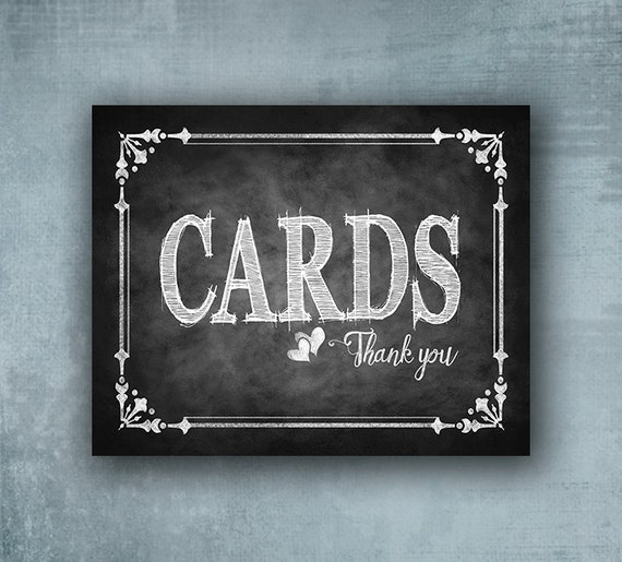 Printed Chalkboard Style CARDS wedding or special event sign - Chalkboard Cards Sign, Card box sign, Card Sign - Cottage Charm Collection