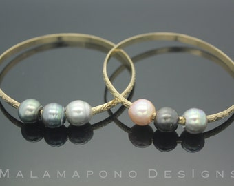 14k Gold filled Hawaiian jewelry-like bangle bracelet with Three (3) Tahitian Pearls
