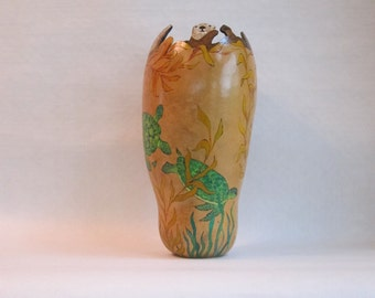 Kelp Forest hand painted Gourd Vessel with sea turtles and otters