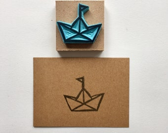 Rubber stamp, hand carved stamp, mounted, stamping, origami boat