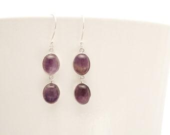 Amethyst Dangle Earrings, Sterling Silver, Natural Dark Purple Amethyst Earrings, Drop Gemstone Earrings, Crystal Amethyst Stones Earrings