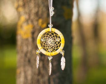 Small yellow  dream catcher necklace/ pendant dreamcatcher jewelry/bohemian gift for her/ dream catcher for children/ little gift for girl