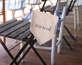 Reserved Canvas Banner Aisle Marker, Chair Marker, Ceremony Decor, Wedding Decor, Reception Decor, Modern Calligraphy Wedding Sign