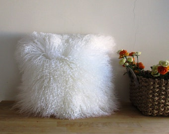 16 x 16 White Mongolian Curly Lamb Real Fur Pillow Cover
