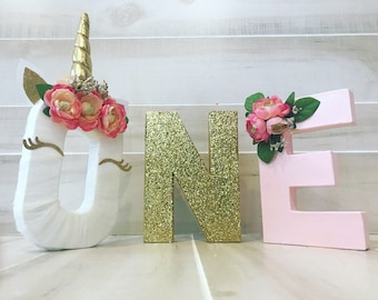 ONE unicorn birthday letters
