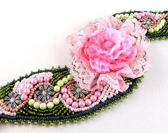 Bracelet, Bead Embroidery