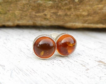 Amber Stud Earrings - Sterling Silver Studs - Amber Post - Gemstone Earrings - Jewelry for Women