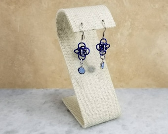 Persephone Chainmaille Earrings - Silver & Blue Swarovski