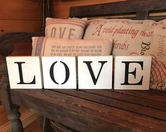 LOVE blocks wood sign