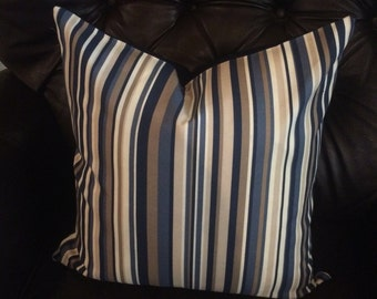Pillow cover. stripe pillow cover. accent pillow. throw pillow. sofa pillow. blue and tan stripe pillow. cushion cover. sham. decorative