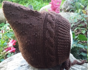 Handmade knitted hat. Baby Pixie Hat. Toddler hat. Elf hat. Brown hat. Pixie Bonnet. Toddler Hat. Merino & Cashmere Wool hat.