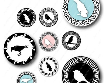 Bird Cameos 1 inch Circles for Pendants, Digital Collage Sheet, Download and Print Jpeg Images