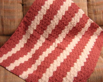 """White and Mauve Lap Afghan, Crochet, 36"""" x 33"""", Chair Throw, Baby Afghan - READY TO SHIP"""