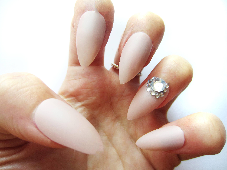 Nude Pink Gem False Nails, Set of 24 Fake Nails, Wedding Nails ...