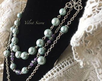 Jewelry handmade, bridal statement necklace, multi strand necklace, triple strand necklace, layered pearl necklace, pastel pearl necklace