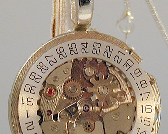 Steampunk Vintage Wittnauer Watch Movement Pendant with Chain OOAK #2