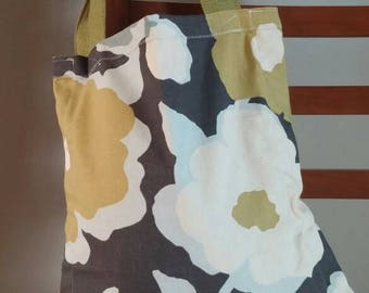 Floral grey and green tote