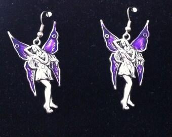 Purple Enamel Wing Fairy Earrings, Enamel Fairy, Purple Enameled Fairy Wings, Purple Wing Fairy, Fairy Earrings, Fantasy Earrings