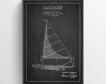 1962 Sailboat Patent Poster, Sailboat Print, Sailboat Poster, Patent Art Print, Patent Print, Blueprint, Home Decor, Gift Idea, NA27P