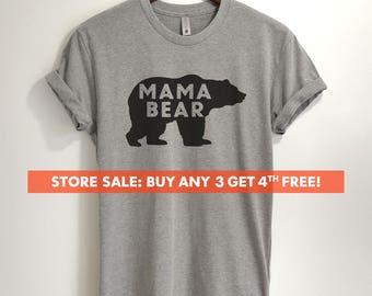 Mama Bear T-shirt,  Ladies Unisex Crewneck Shirt, Awesome Mom T-shirt, Gift For Mom, Short & Long Sleeve T-shirt