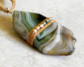 Linen Wrapped Agate Pendant on Leather - Green Agate - Large Agate Pendant - Leather Cord Necklace - Beaded Linen - Roca Jewelry Designs