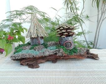 Neighbors on the cliff Fairy House Landscape/handmade/mix media/fairies/elves/pixies/gnomes/home/garden/miniature/clay/pinecone/bark/moss