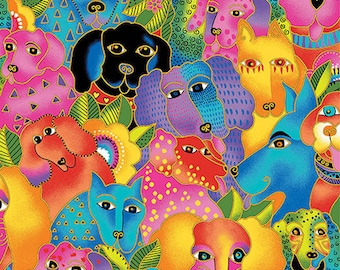 Laurel Burch Dogs & Doggies Multi ~ OUT OF PRINT!!!