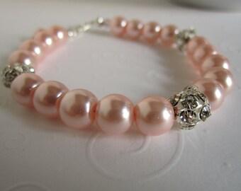 Blush Pink Bridesmaid Bracelet and Earring Set Pink Wedding Bridesmaid Gift.