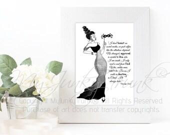 Hidden- African American- Fashion Illustration Black and White Art Print