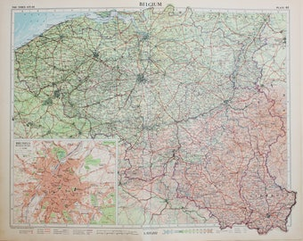 Vintage Map of Belgium, Luxembourg, Brussels, 1950s Cold War Era. Lovely Pastel Colours (61)