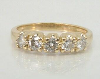 Vintage Diamond Wedding Ring - 14K Yellow Gold - Five Diamond Women's Wedding Ring