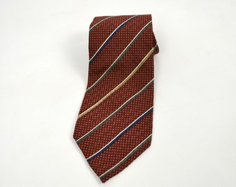 1980s Red, Gray, Tan Stripe Print Tie by Hathaway, Hipster, Business Casual