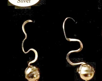 Sterling Silver Earrings -  Dangles - Freeform Tendrils - Sterling Ball - French Hooks - Unique Gift