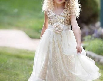 Flower girl dress, Ivory gold flower girl dress, Flower girl dresses, Rustic Flower girl dress, Ivory Flower girl dress,Country flower girl
