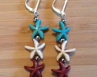 Starfish Earrings - Turquoise, White and Brown