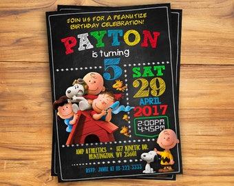 Peanuts Snoopy Invitation, You Print Invitation, Peanuts Birthday, Snoopy Invite, Penuts Snoopy Birthday Party Invite, Peanuts Party
