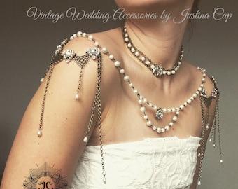 Shoulder Necklace, Bride Necklace, Shoulder Necklace, Vintage Gold Necklace, Wedding Accessories, Shoulder Jewellery