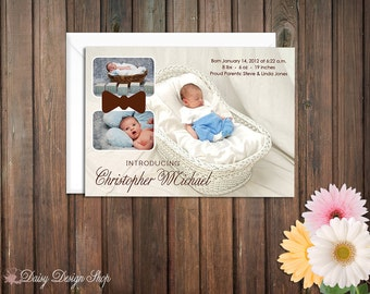 Birth Announcement with Three Photos and a Fun Bowtie - New Baby Boy