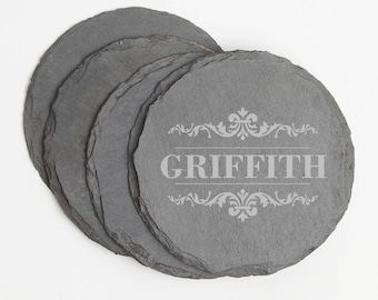 Personalized Round Slate Coasters, Engraved Slate Coaster, Name Design, Personalized Coaster, Personalized Wedding Gift, Housewarming D16