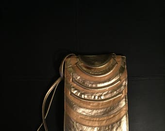 Gold Leather Handbag, Gold Cross Body Bag